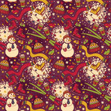 Cute winter seamless pattern with snowman and ski Royalty Free Stock Photo
