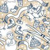 Cute winter seamless pattern with snowman and ski Royalty Free Stock Images