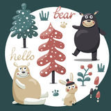 Cute winter set made with bears, rabbit, mushroom, bushes, plants, snow, trees Stock Image