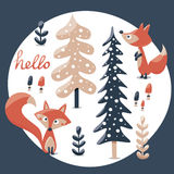 Cute winter set made with fox, rabbit, mushroom, bushes, plants, snow, trees Stock Images