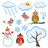 Cute Winter Set Royalty Free Stock Photos