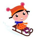 Cute winter sledding Child. Cute Girl sledding in Winter. Vector cartoon Illustration Royalty Free Stock Images