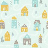 Cute winter snowfall houses pattern. Vector EPS10 hand drawn houses seamless pattern stock illustration