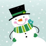 Cute winter Snowman Stock Photography