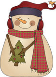 Cute Winter snowman holding a tree Stock Images