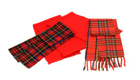 Cute winter tartan scarves with fringe. Stock Photo