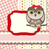 Cute wise owls background for scrapbook Stock Images