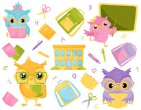 Cute wise owls and school supplies, school education and knowledge concept vector Illustration. Isolated on a white background vector illustration