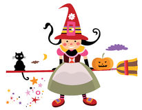 Cute Witch. With carved pumpkin and black cat on Halloween Royalty Free Stock Photos