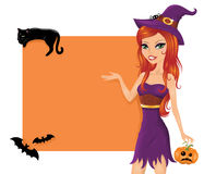 Cute witch. Royalty Free Stock Photo