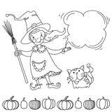 Cute witch. Banner for your design Royalty Free Stock Photo