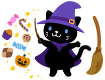 Cute witch black cat  Halloween  Stock Photo