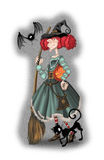 Сute witch with a broom Royalty Free Stock Image