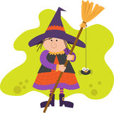 Cute Witch With Broom Stock Images