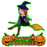 Cute witch on broom wishes happy halloween on white isolated background. Cute witch on broom wishes happy halloween stock illustration