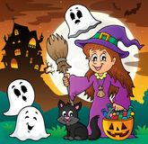 Cute witch and cat with ghosts 1 Stock Photo