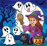Cute witch and cat with ghosts 2 Royalty Free Stock Images