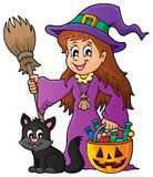 Cute witch and cat theme image 1 Royalty Free Stock Photography