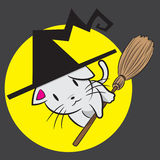 Cute Witch Cat Stock Image