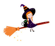 Cute witch with cats happy halloween background Royalty Free Stock Images