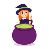 Cute witch with cauldron Royalty Free Stock Image
