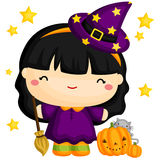 Cute witch and cute cat Royalty Free Stock Images