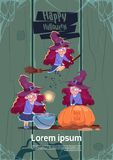 Cute Witch Fly On Broom Stick, Cook Potion In Pot, Happy Halloween  Stock Photos