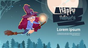 Cute Witch Fly On Broom Stick, Happy Halloween Banner. Cute Witch Fly On Broom Stick, Happy Halloween Banner Party Celebration Concept Flat Vector Illustration Stock Image