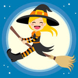 Cute Witch Flying With Broom Stock Image