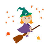 Cute witch flying on a broom Royalty Free Stock Photos