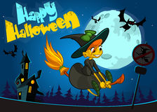 Cute witch flying on her broom. Vector Halloween banner. Royalty Free Stock Photos