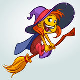 Cute witch flying on her broom. Vector Halloween illustration of witch  on white background Stock Photos