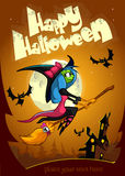 Cute witch flying on her broom. Vector Halloween party invitation Royalty Free Stock Photos