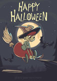 Cute witch flying on her broom. Vector Halloween party invitation. Royalty Free Stock Images