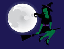Cute Witch Flying on her Broomstick Stock Image