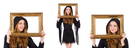 The cute witch with frame picture isolated on white. Cute witch with frame picture isolated on white Stock Photo