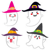 Cute Witch Ghosts. Collection of different funny cute ghosts with witch hat Stock Images