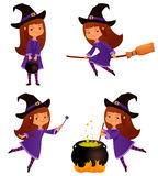Cute witch girl Stock Images