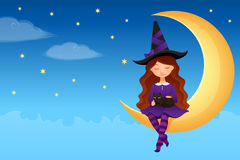 Cute witch girl and her cat Royalty Free Stock Photo
