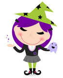 Cute witch girl isolated on white Royalty Free Stock Photos