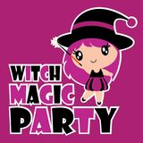 Cute witch girl in magic party vector cartoon illustration for halloween card design Royalty Free Stock Image