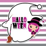 Cute witch girl on witch hat frame on striped background  cartoon illustration for halloween card design Royalty Free Stock Image