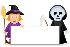 Cute Witch & Grim Reaper with Blank Banner. Two Halloween monsters, a cute witch and Grim Reaper, holding a blank banner. Eps file available Royalty Free Stock Images