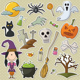 Cute witch and Halloween objects Stock Images