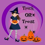Cute witch and Halloween punkins Stock Photography