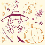 Cute witch with Halloween stuff Royalty Free Stock Photo