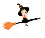 Cute witch happy halloween background Royalty Free Stock Photography