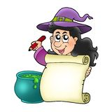 Cute witch holding scroll Royalty Free Stock Photography
