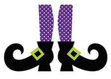 Cute Witch legs. Purple dotted witch legs. Vector cartoon Illustration stock illustration