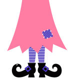 Cute Witch Legs isolated on white - pink and purpl Stock Photo